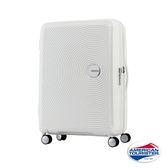 *C羅代言款* AT美國旅行者 30吋Curio立體唱盤刻紋硬殼可擴充TSA行李箱(白)