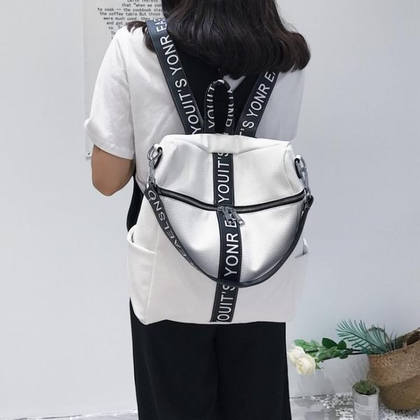 2017新款韓版印花字軟pu皮百搭雙肩後背包DA105『黑色妹妹』