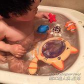 寶寶洗澡玩具小貓撈魚漂浮軟膠噴水捏捏叫套裝