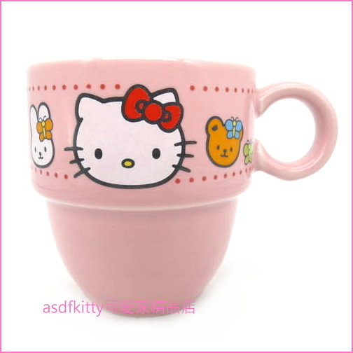 asdfkitty可愛家☆瑕疵出清(有小裂縫)-KITTY好朋友粉紅色陶瓷馬克杯-2000年出品-日本正版商品