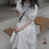 泡泡袖洋裝 2020秋裝新款長袖中長款韓版寬鬆法式初戀裙白色洋裝