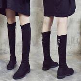 長靴女士過膝膝上靴顯瘦平底靴絨面 小艾時尚