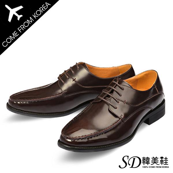 男鞋 韓國空運 復古設計基本款 質感皮革綁帶 紳士皮鞋德比鞋【F730363】2色 SD韓美鞋