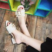 拖鞋女夏季新款韓版百搭中粗跟一字拖鞋露趾皮帶扣外穿涼拖鞋