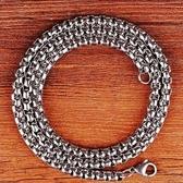 粗5mm長70公分 正316L鈦鋼方型珠鍊項鍊