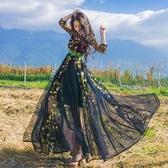 洋裝 波西米亞風刺繡七分袖女連身裙2色73mw1【巴黎精品】