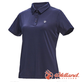 【wildland 荒野】女 彈性POLO吸排抗UV條紋衣『深藍』0A71659 T恤 POLO衫 上衣 女版 短袖 排汗