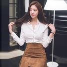 歐媛韓版 白色韓國襯衫 女設計感小眾輕熟風秋季新款長袖上衣雪紡職業襯衣女