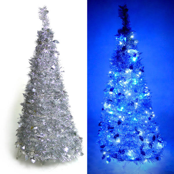 4尺/4呎(120cm) 創意彈簧摺疊聖誕樹 (銀色系)+LED100燈串一條(9光色可選)(本島免運費)