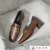 高跟鞋 真皮高跟鞋女中跟單鞋金屬扣一腳蹬粗跟春秋小皮鞋【快速出貨】