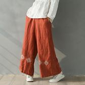 亞麻闊腿褲 純色刺繡休閒長褲/4色-夢想家-0217