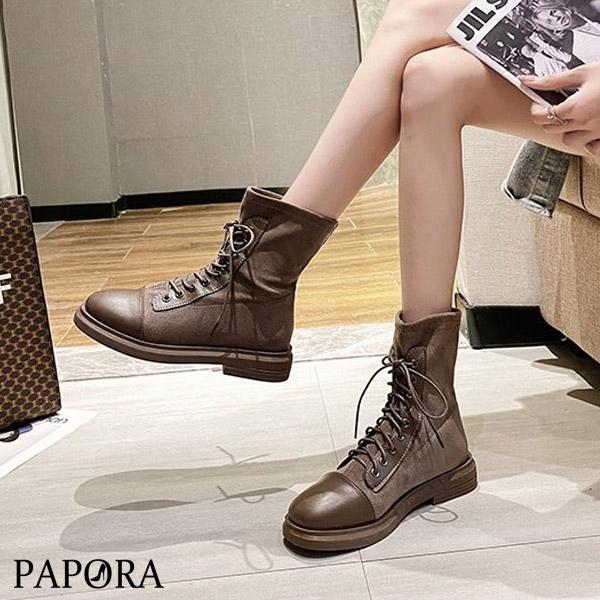 PAPORA百搭併接絨面輕便休閒懶人靴短靴中筒靴KK8002黑色/卡其色