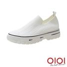 休閒鞋 日常穿搭飛織厚底懶人鞋(白)*0101shoes【18-929w】【現+預】