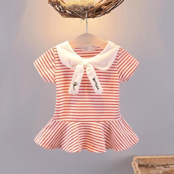 夏裝短袖衣裙0-3月嬰兒夏季T恤裙夏天休閑短袖上衣T恤衫潮 茱莉亞