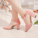高跟鞋一字扣粉色高跟鞋粗跟尖頭正韓中空涼鞋女絨面淺口工作鞋【特價】
