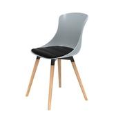(組)特力屋萊特塑鋼椅-櫸木腳架40mm+灰椅背+黑座墊