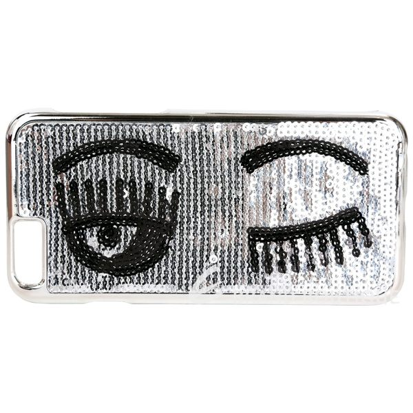 Chiara Ferragni Flirting i6 眨眼圖案縫製亮片手機殼(銀色) 1640245-30