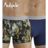 Aubade man-舒棉M-XL平口褲(藍綠2件組)2012