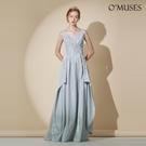 OMUSES 蕾絲V領金蔥伴娘婚紗訂製銀色長禮服