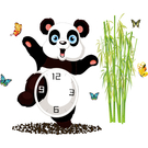 BO雜貨【YV0611】創意可移動 時鐘壁貼 兒童房 教室佈置 淘氣熊貓 SA-2-005W