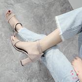 高跟涼鞋一字扣涼鞋女粗跟2018夏季新品中跟羅馬鞋正韓黑色高跟41女鞋(萬聖節)