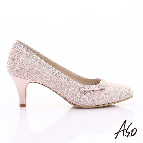 A.S.O 甜蜜樂章 優雅美型蕾絲緞布蝴蝶結鑽飾中跟鞋  粉紅