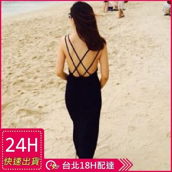 【現貨】梨卡 - 連身裙 [超性感+後背交叉] 日系VIVI甜心 - 沙灘裙連身裙露背背心裙連身長裙C6081
