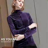 半高領絲絨內搭長袖T恤設計感褶皺荷葉邊上衣(二色S-2XL可選)/設計家 AL301782