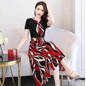 洋裝女夏季新款修身收腰顯瘦氣質女神范輕熟風雪紡碎花裙子 可然精品