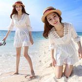 夏季韓國蕾絲娃娃衫女海邊度假沙灘短裙韓版V領高腰a字洋裝 『CR水晶鞋坊』