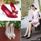 新款婚鞋細跟高跟鞋女新款尖頭紅色淺口鞋方扣水鉆單鞋女 DR18728【Rose中大尺碼】