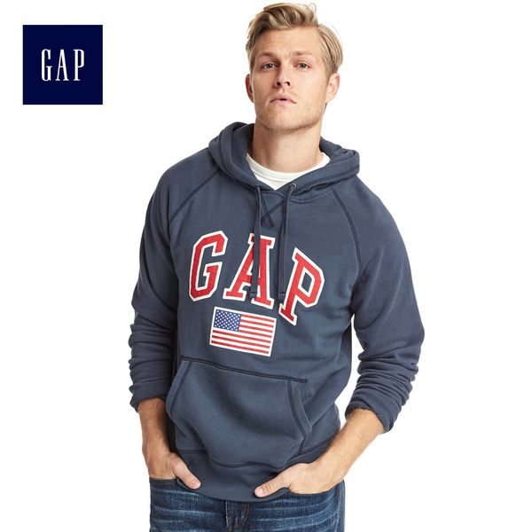 Gap男裝 Logo基本款旗幟印花連帽長袖休閒上衣 523677-復古海軍藍
