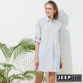 【JEEP】女裝 和風圖騰襯衫式洋裝-天空藍