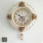 歐式掛鐘客廳奢華個性創意時尚大氣掛表臥室藝術時鐘家用掛墻鐘表 居享優品