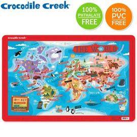 《美國Crocodile Creek》互動式學習餐墊-世界城市地圖