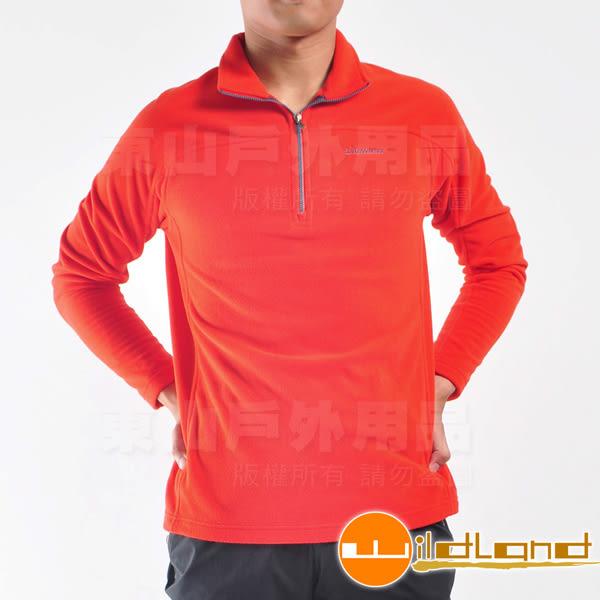 Wildland荒野0A22508-13橘紅色 男 遠紅外線PILE保暖上衣