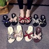 沙灘拖鞋女夏外穿時尚厚底社會女坡跟人字拖新款夾腳網紅涼拖 伊衫風尚