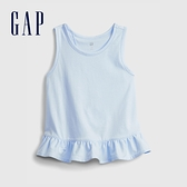 Gap女幼童 清新素色無袖T恤 689393-淺藍色