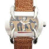 CHARRIOL 夏利豪 不銹鋼棕色皮革帶石英腕錶 (附豹紋錶帶) 01060 【BRAND OFF】