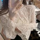 打底衫內搭蕾絲衫女長袖網紗洋氣小衫上衣秋冬【左岸男裝】