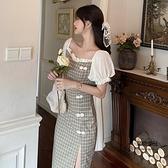 旗袍大碼女寬鬆女夏季格子泡泡袖裙子【聚物優品】