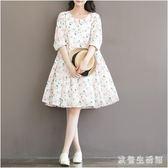 中大尺碼長袖印花洋裝 2019日系水蜜桃印花棉布寬鬆長袖連身裙女 nm17131【歐爸生活館】