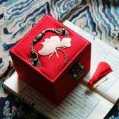 古風閨房收納盒飾品珠寶首飾箱原創手工帶掛鎖刺繡錦盒     印象家品旗艦店