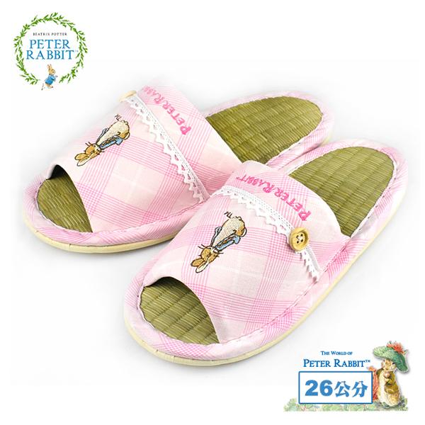 【クロワッサン科羅沙】Peter Rabbit TP斜格釦草蓆室內拖鞋 (粉26CM)