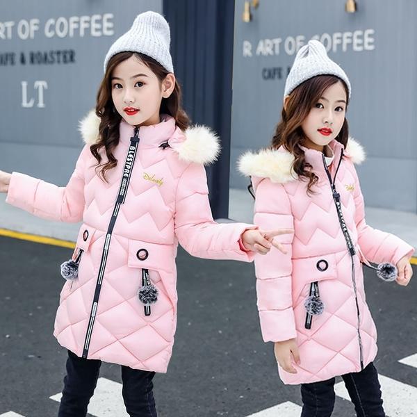 女兒童裝中大女童潮流棉服外套 女孩時髦中長夾棉女童外套羽絨服 韓加厚保暖秋冬洋氣加絨夾克