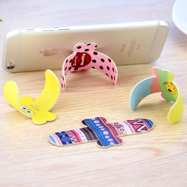 【SZ】彩繪通用型手機支架 卡通支架 蝴蝶結U型支架 通用懶人支架 iphone 三星 HTC 小米 支架後