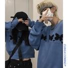 情侶裝 春外穿韓版寬鬆慵懶風復古藍色短款毛衣女套頭情侶裝針織衫上衣【快速出貨八折鉅惠】