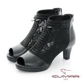 【CUMAR】優雅化身鏤空透感排鑽粗跟魚口粗跟裸靴(黑色)