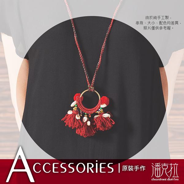 紅色毛線圓環編織項鍊紅-F【潘克拉Accessories】