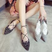 尖頭涼鞋 包頭涼鞋女交叉綁帶中空鞋百搭亮片尖頭平底鞋 coco衣巷